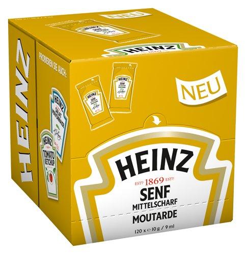 Heinz Senf mittelscharf Portionsbeutel, 120er Pack (120 x 10g /9 ml )