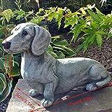 JKKJ Statue de teckel en polyrésine - Décoration de jardin - Figurine commémorative en forme de chien - Décoration pour le jardin, la maison, le chiot couché - Décoration zen yoga