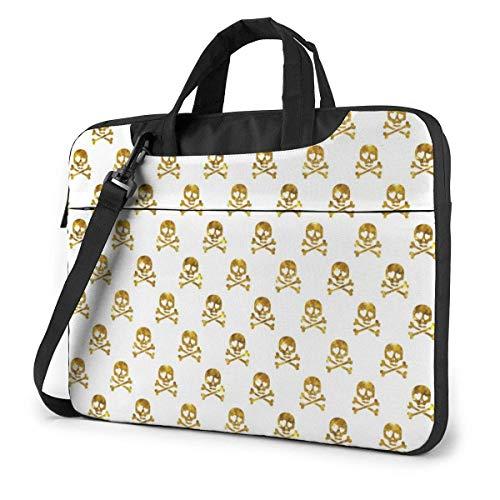 Golden Glitter Skulls in Love Cute Laptop Case Laptop Shoulder Messenger Bag Sleeve for 13 To15.6 Inch