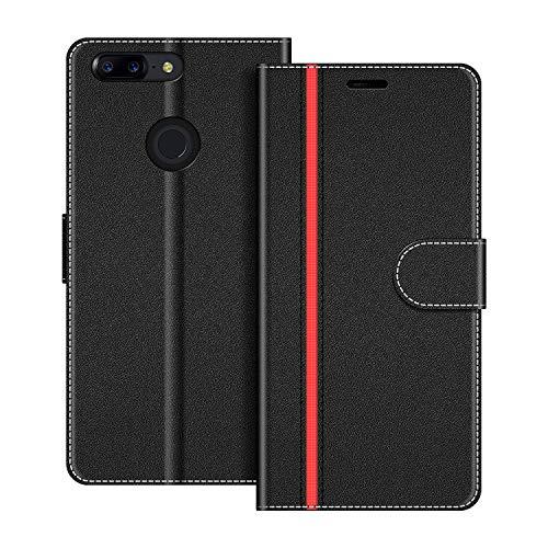 COODIO Handyhülle für OnePlus 5T Handy Hülle, OnePlus 5T Hülle Leder Handytasche für OnePlus 5T Klapphülle Tasche, Schwarz/Rot