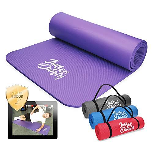Jung & Durstig Yogamatte Gymnastikmatte Sportmatte Fitnessmatte rutschfest mit Tragegurt | 180 x 60 x 1 cm | Lila