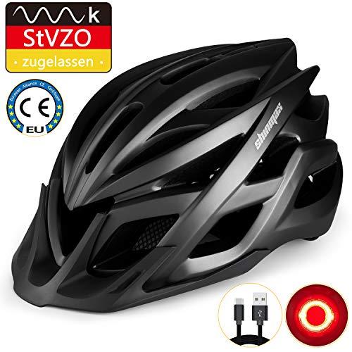 KINGLEAD Fahrradhelm mit StVZO LED Licht, Unisex-geschützter Fahrradhelm für Radrennen Skateboardfahren im Freien Sicherheit Superleichter Verstellbarer Fahrradhelm mit CE-Zertifikat (Schwarz)