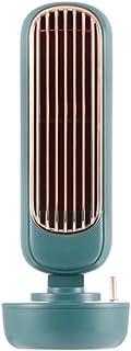 Acondicionador de aire del ventilador de humidificación Torre 2en1 enfriador USB de escritorio silencioso fuerte viento de agua Pulverización Ventilador (Color : Verde)