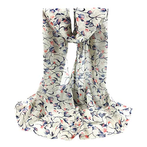 Xmiral Sciarpa Donna,Scarf Donna Foulard Donna foulard in Seta Artificiale stampa floreale pura Chiffon avvolgente stola morbida per donne Taglia unica bianco