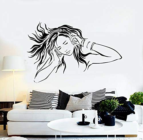 Girl listening to music vinyl wall decals room headphones music bedroom wall stickers removable home decoration 27X42cm