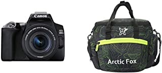 Canon EOS 200D II 24.1MP Digital SLR Camera + EF-S 18-55mm f4 is STM Lens (Black) + Arctic Fox Sling Shutter Topography Camera Bag