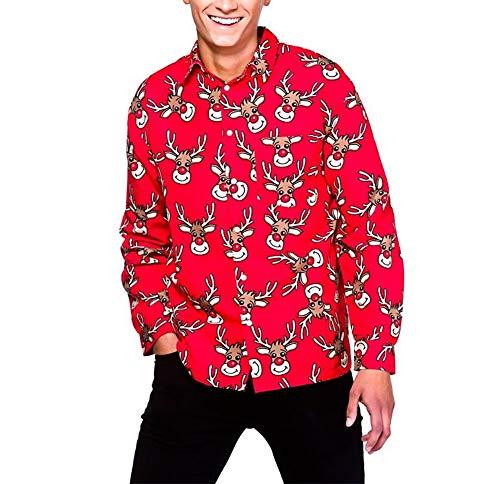 Camisa Navidad Hombre de Manga Larga Shirt Camisa Casual Navideño con Impresión de Reno Muñeco de Nieve Papá...