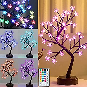 Pooqla RGB Cherry Blossom Tree Light with Remote 16 Color-Changing LED Artificial Flower Bonsai Tree Table Top Lamp Home Lit Tree Centerpieces Halloween Christmas Decoration 36 LED Brown Branch