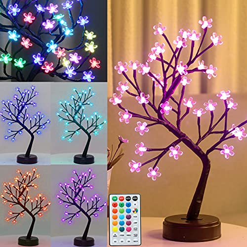Pooqla RGB Cherry Blossom Tree Light with Remote 16 Color-Changing LED Artificial Flower Bonsai Tree Table Top Lamp Home Lit Tree Centerpieces Halloween Christmas Decoration 36 LED, Brown Branch