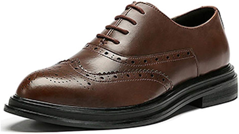 CHENTAOCS Herren Lederschuhe, Business Casual Schuhe, Englische Schnitzschuhe, Braun