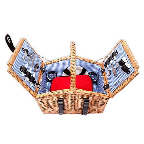 Schramm® Picknickkorb aus Weidenholz mit Henkel für 2 Personen hochwertiger Weidenkorb mit Picknickdecke Picknickset innen blau kariert