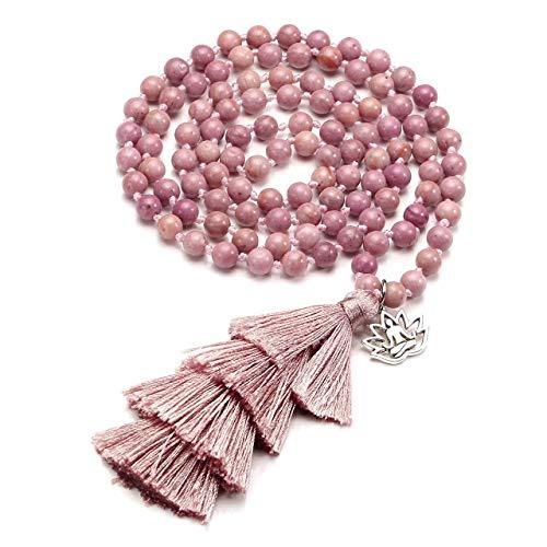 halsketting met natuurlijke kristallen, boeddhistisch gebed, Mala-kralen, 108 meditatie healing, meerlaags armband/halsketting met lotuskwastje, kleur: Amazoniet