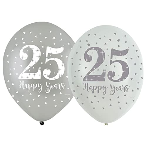 """8 x 25 Happy Years 9/"""" Paper Plates Silver Wedding Anniversary Party Tableware"""