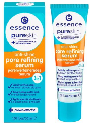 Essence Pure Skin anti-shine pore refining serum porenverfeinerndes serum 3in1 verfeinert sichtbar die Poren, mattiert langanhaltend und bekämpft Pickel und Mitesser. Inhalt: 30ml Verfeinert Poren und reduziert Pickel sichtbar.