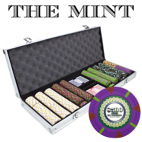 500 Count 'The Mint' Poker Chips in Aluminum Carrying Case, 13.5g Clay Composite Chips  Deluxe Set w/ 2 Playing Card Decks, Dealer Button, & 5 Dice by Claysmith Gaming