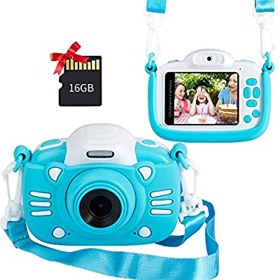 MINIBEAR Kids Camera, Kids Digital Video Camera for Girls, 1080P HD Kids Camcorder Toddler Camera Birthday Toy Gifts for Kids with 16GB SD Card & 2.4 inch IPS Screen from MINIBEAR