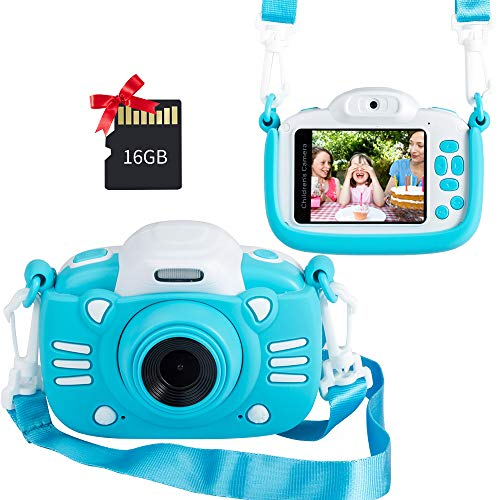 Why Choose MINIBEAR Kids Digital Camera, 2.4 Inch Kids Video Camera for Girls Boys Gifts Toddler Toy Camera 30MP Mini Kids Camcorder with Games and 16GB SD Card, Blue