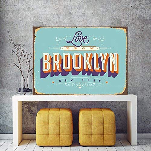 DKISEE Safety Tin Sign Gift, Love from Brooklyn Sign, Sings, Metal Signs Home Decor Garage Wall Art Safety Tin Sign 10x14 Inches