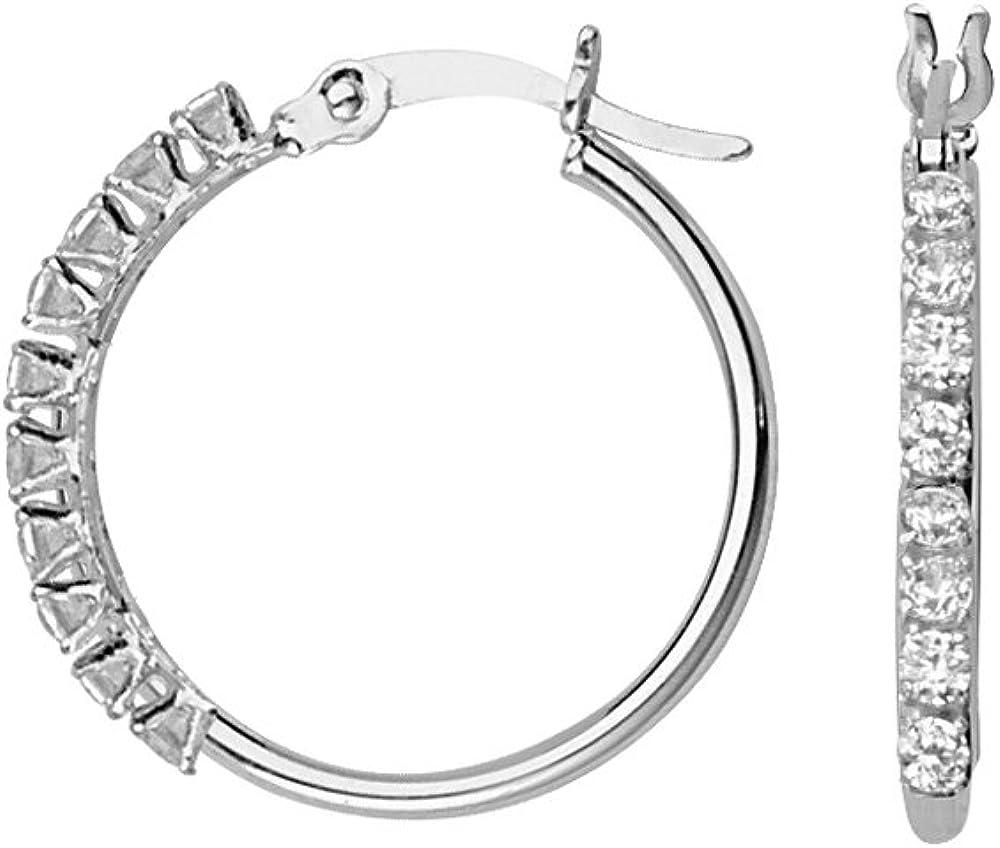 Hoop Earrings, 10Kt Gold 1.5X25mm Round Tube Hoop & Cubic Zircon Accent-20Cubic Zircon