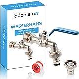 Bächlein Universal Wasserhahn für den Garten [blau] inkl. 2 Schlauchanschlüssen - edler Kugelhahn...