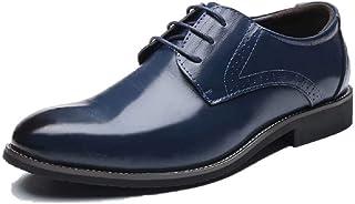 Chaussure Homme Cuir Brogue, Lacets Business Cuir Vernis Derby Mariage Dressing Oxford Noir Marron Rouge Jaune Bleu 37-48EU
