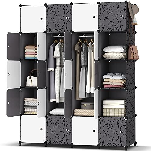 HOMIDEC Kleiderschrank, Tragbarer Regalsystem, 20 Würfel Schrank aus Kunststoff mit 3 Kleiderstange, Schlafzimmerschrank kleiderschrank Weiss für Schlafzimmer, 180 x 142 x 45cm