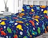 Sapphire Home 3 Piece Twin Size Dinosaurs Theme Print Sheet Set with Fitted, Flat and 1 Pillow Case, Blue Green Boys Kids Bedding Sheet Set, Twin Sheet Dinosaur
