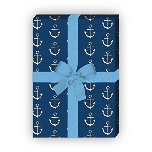 Kartenkaufrausch Nautisches Geschenkpapier Set 4 Bogen, Dekorpapier mit Ankern, blau, für schöne Geschenkverpackung, Musterpapier zum basteln 32 x 48cm