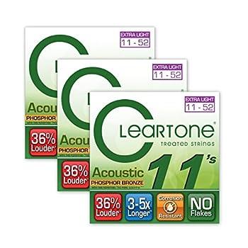 Cleartone 7411 Custom Light Phosphor Bronze Acoustic Guitar Strings 11-52 3-Pack w/Bonus RIS Picks  x3  786136074114