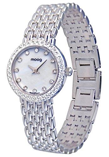 Moog Paris Catherine Reloj para Mujer con Esfera Nácar Blanca, Correa Plateada de Acero Inoxidable y Cristales Swarovski - M48134-104