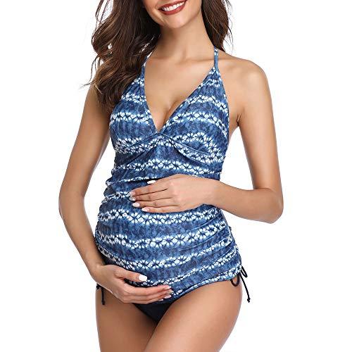 Traje de baño de Maternidad Verano Mae triángulo Halter Bikini Azul/Blanco XX-Large