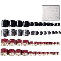 48 piezas de cinta adhesiva de doble cara para uñas, con purpurina acrílica de color dorado vino tinto, brillante - decorado para mujeres y niñas (2 juegos)