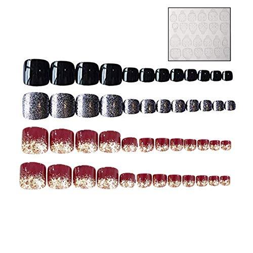 2 lots de 48 faux ongles pour orteils, ruban adhésif double face, en acrylique doré à paillettes, rouge