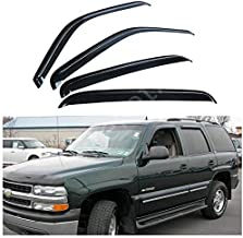 itelleti 4pcs Outside Mount Dark Smoke Sun/Rain Guard Front+Rear Tape-On Auto Window Visors For 01-06 Chevy Tahoe GMC Yukon 00 4.8L/5.3L 02-06 Cadillac Escalade Base