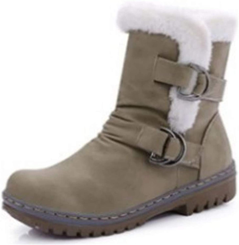 Fancyww Women's Warm Fur Round Toe Winter Short Boots