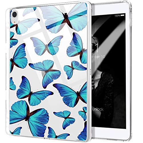MAYCARI Cute Blue Butterfly Case Clear for iPad 8th Generation 10.2' 2020/iPad 7th Generation 10.2' 2019 with Pencil Holder, Transparent Art Cover, Shockproof Soft TPU Cases with Bumper Protective