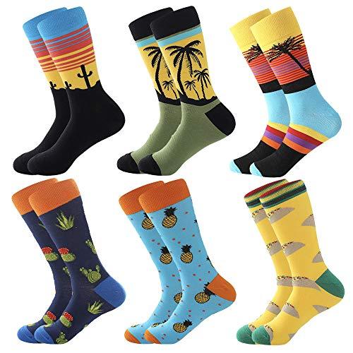 BONANGEL Calcetines de Vestir Divertidos, Coloridos Calcetines Para Hombres,Calcetines de Oficina de Algodón con Estampados Divertidos y Elegantes de Fantasía, Locos Geniales (6 Pairs-Sunset1)