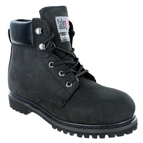 Safety Girl GS005-Black-8.5M Insulate Work Boot II- Black Steel Toe 8.5M, English, Capacity, Volume, Leather, 8.5M, Black ()
