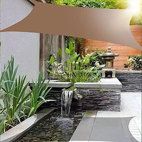 Wsaman Toldo Vela de Sombra Rectangular 3 x 5 m, con Kits de Montaje, Protección Rayos UV y HDPE Transpirable, Vela de Sombra Toldo Impermeabl para Exterior, Jardin, Patio,Brown