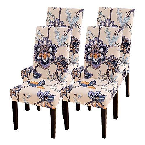CareMont 4 StüCk Stuhl Abdeckungen, Strecken Abnehmbare Waschbare KüChen Stuhl Abdeckungen Schutz für das Esszimmer, Hotel, Blumen Muster