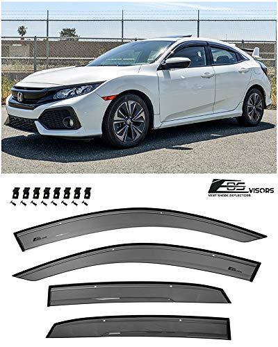 Extreme Online Store for 2016-Present Honda Civic Hatchback Models | EOS Visors JDM Real Mugen Clip-ON Style Smoke Tinted Side Vents Rain Guard Window Deflectors