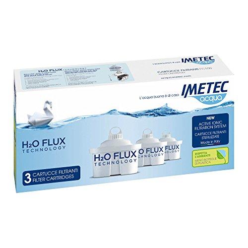 Imetec H2O Flux Technology, 3 Cartucce Filtranti per Prodotti Acqua, Ricambi Originali
