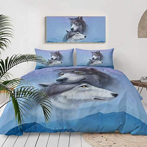 Yeesovs Duvet Cover Quilt Bedding Set -Wild Animal Blue Mountain Landscape Wolf Print Pattern-Single (135 X 200 Cm) -With 2 Pillowcases 50*75Cm-Bedding3 Pcs With Zipper Closure Ultra Soft Hypoallerge