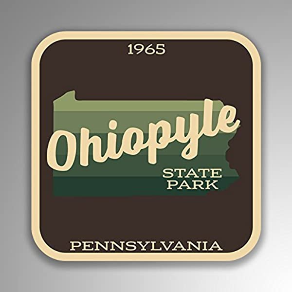 JMM Industries Ohiopyle State Park Pennsylvania Vinyl Decal Sticker Retro Vintage Look 2 Pack 4 Inches By 4 Inches Premium Quality UV Protective Laminate SPS442