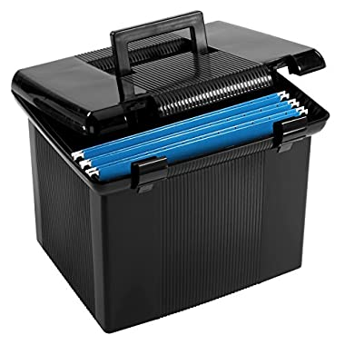 Pendaflex Portable File Box, Black, 11 H x 14  W x 11-1/8  D  (41742)