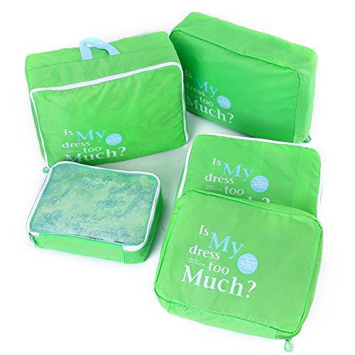 Shopper Joy Nylon 5 Pezzi Organizer per Valigie Cubi di Imballaggio Borse da Viaggio - Verde