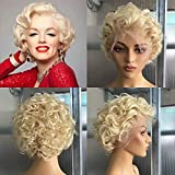 Derun 180% Density 613 Blonde Short Curly Wigs Human Hair 13×6 T Part Lace Front Wig Remy Hair for Women (10Inch, 180% Density, T Lace)