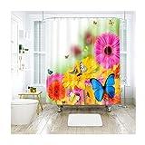 Daesar 3D Lustiger Duschvorhang 200x180 Chrysantheme Schmetterling Duschvorhang Antischimmel aus Polyester-Stoff