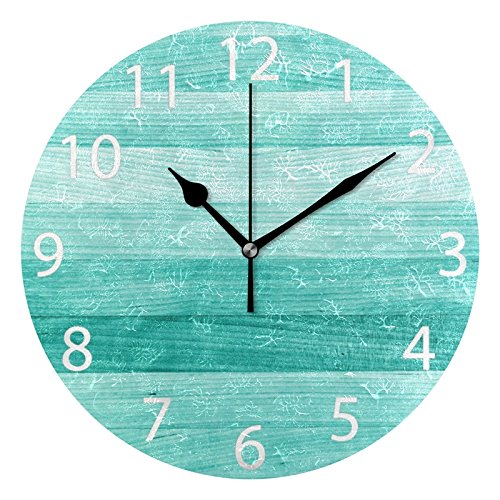 ABLINK Teal Turquoise Blue Wood Deck Round Acrylic Wall Clock, Silent Non Ticking Oil Painting Home Office School Decorative Clock Art