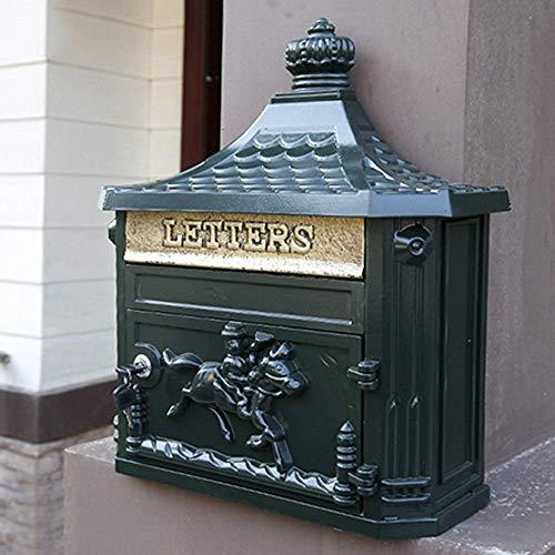 AWJ Mailbox, Briefkasten zur Wandmontage Briefkasten European Retro Home Outdoor Villa Kreativer Briefkasten mit Schloss Regen Diebstahlsicherer Briefkasten, 41X16X46cm